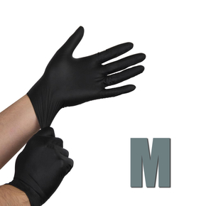 Gloves nitrile, size M (black), 1 pair