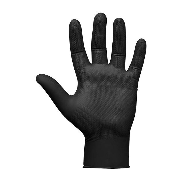 JSN NATRIX gloves size S, 10pcs, non-slip disposable black nitrile