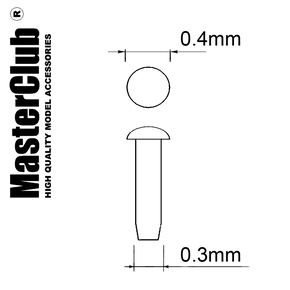 A flat spherical rivet, диаметр-0.4mm; diameter of the aperture for installation-0.3mm; 200 pcs.