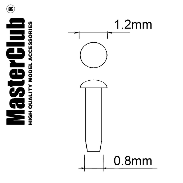 A flat spherical rivet, диаметр-1.2mm; diameter of the aperture for installation-0.8mm; 70 pcs.