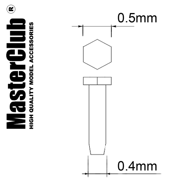 A hexagon bolt, flat head, diameter of the head -0.5mm; diameter for installation-0.4mm; 180 pcs.